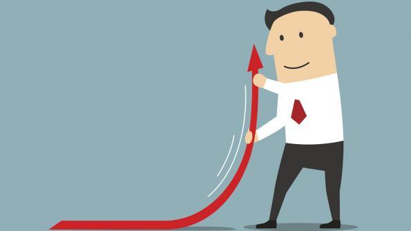 business man lifting arrow