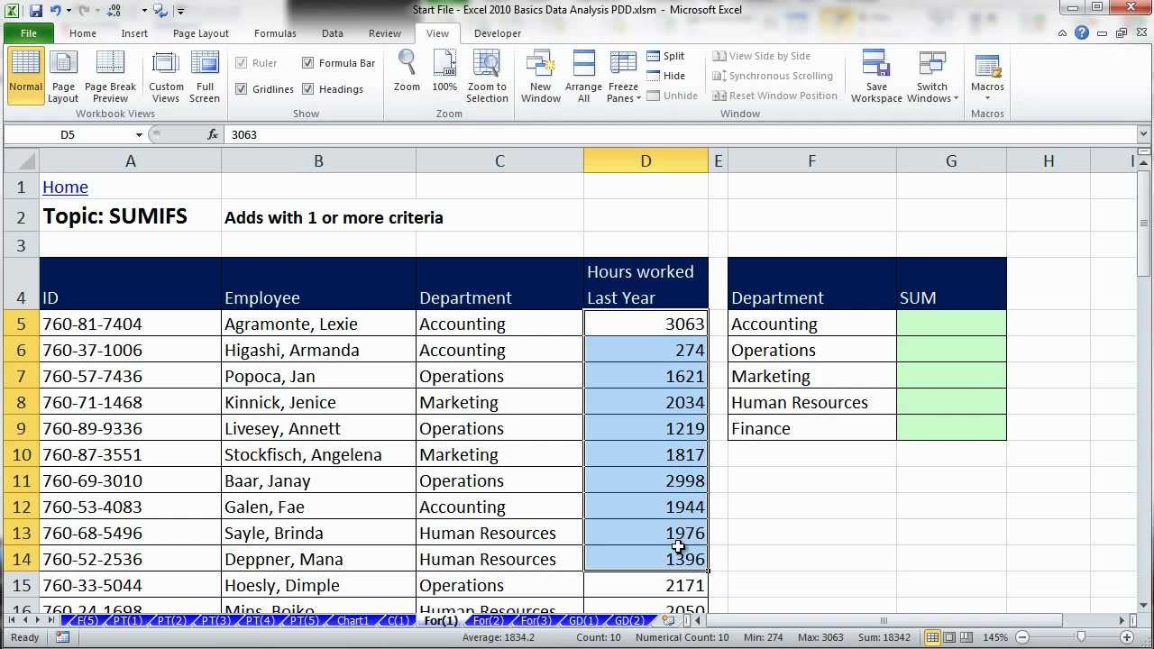 Excel Data Analysis: Sort, Filter, PivotTable, Formulas (25 Examples): HCC Professional Day 2012