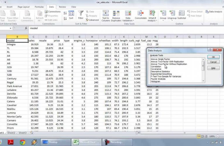 Multiple Linear Regression using Excel Data Analysis Toolpak