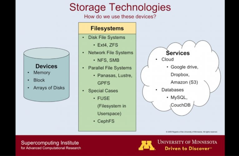 MSI Tutorial: Data Storage Systems and Data Analysis for Research
