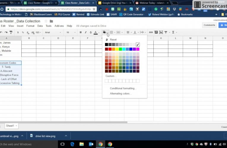 Spreadsheet Component – Data Collection Sheet