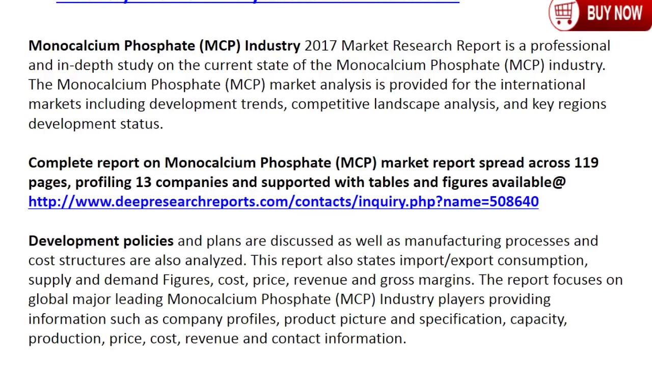 Global Monocalcium Phosphate (MCP) Market 2017 Demands and Insights Analysis Report