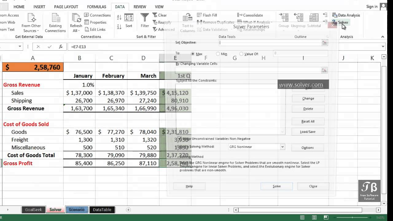 Data Analysis & Using Solver   Excel 2013 Beginners Tutorial